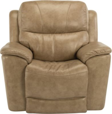 Flexsteel Cade Taupe Leather Power Recliner