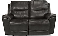 Flexsteel Cade Black Leather Power Headrest Lumbar Loveseat
