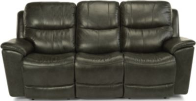 Flexsteel Cade Black Leather Power Headrest Lumbar Sofa