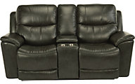 Flexsteel Cade Black Leather Power Headrest Loveseat