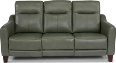 Flexsteel Forte Gray Leather Power Headrest Sofa