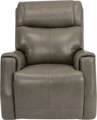 Flexsteel Holton Gray Leather Power Headrest Glider