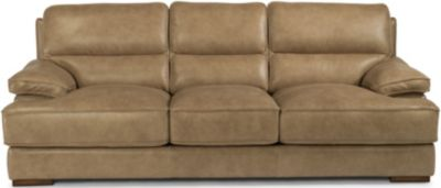 Flexsteel Jade Sand Leather Sofa