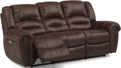 Flexsteel Town Brown Power Motion Sofa