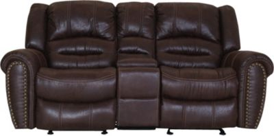 Flexsteel Town Brown Gliding Loveseat with Console