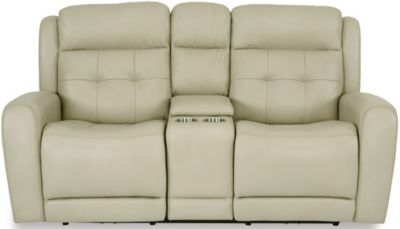 Flexsteel Grant Leather Power Loveseat with Console