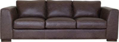 Flexsteel Hawkins Brown 100% Leather Sofa with Drop Down Tab