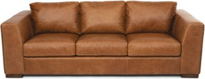 Flexsteel Hawkins Tan 100% Leather Sofa with Drop Down Table