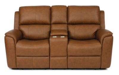Flexsteel Henry Tan Leather Power Motion Console Loveseat