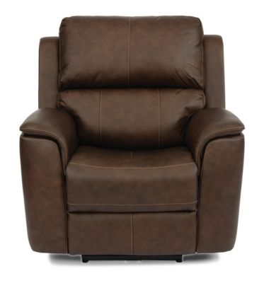 Flexsteel Henry Brown Leather Power Motion Recliner