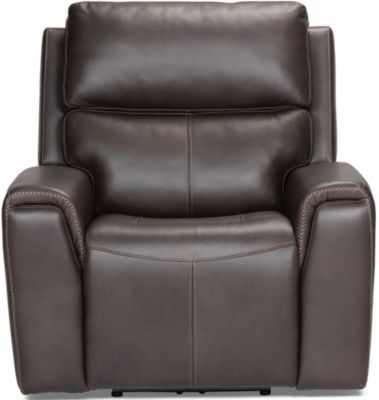 Flexsteel Jarvis Mocha Leather Power Recliner