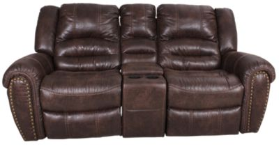 Flexsteel Downtown Reclining Rocking Loveseat with Console