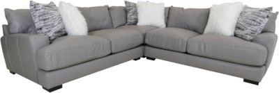 Franklin Antonia Gray 3-Piece Leather Sectional