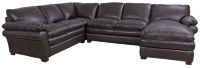 Futura 7439 Right-Side Chaise Leather 3-Piece Sectional