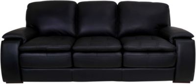 Futura 10302 Collection Black 100% Leather Sofa