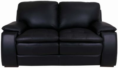 Futura 10302 Collection Black 100% Leather Loveseat