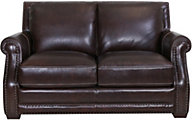 Futura 10030 Collection 100% Leather Brown Loveseat