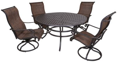 Gather Craft Castle Rock Outdoor Dining Table & 4 Swivel Chairs
