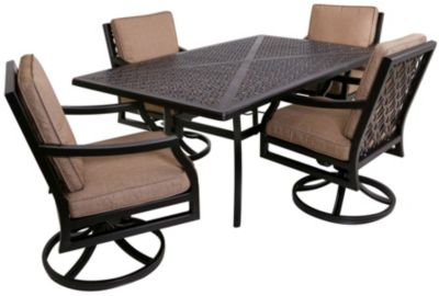 Gather Craft Manchester Rectangle Table And 4 Swivel Chairs
