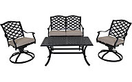 Gather Craft Halston Bench, 2 Swivel Chairs & Coffee Table
