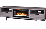 Greentouch Usa Wynwood Gray Walnut Media Fireplace