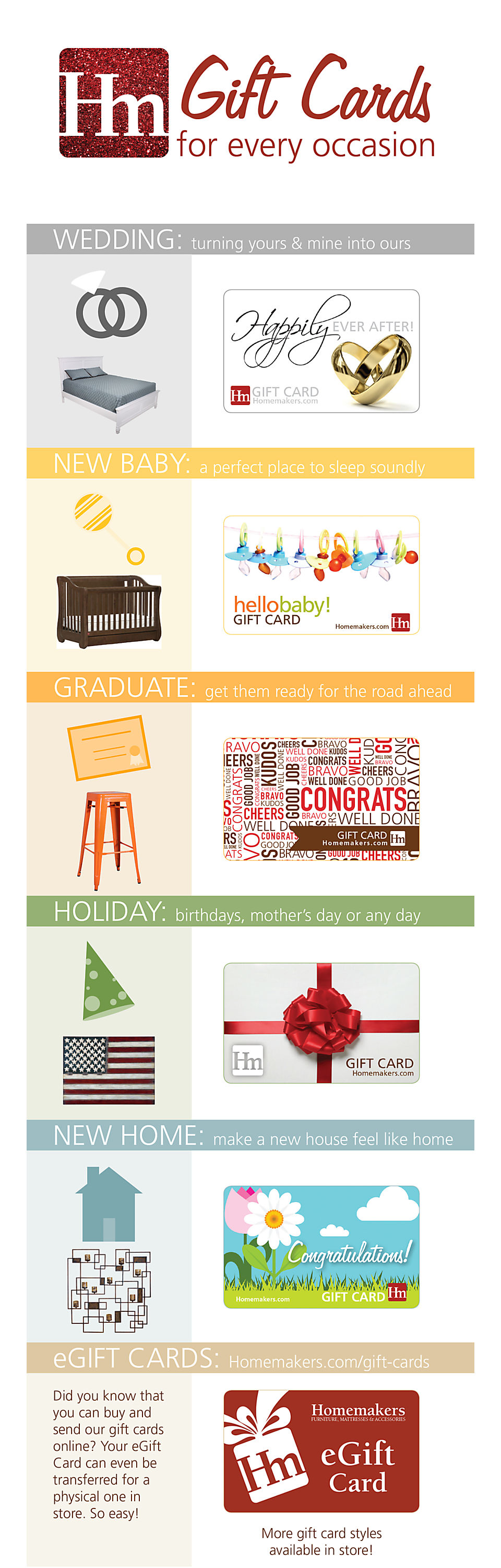 Homemakers has a gift card for every ocassion!
