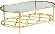 Hammary Furniture Hidden Treasures Golden Leaf Oval Coffee Table