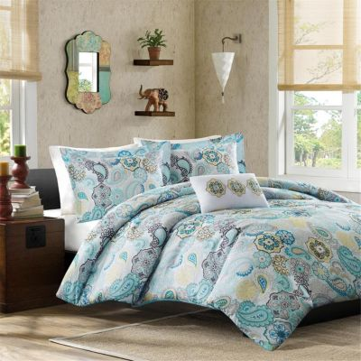 Hampton Hill Tamil Blue 4-Piece Full Comforter Set