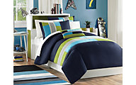 Hampton Hill Pipeline Navy 3-Piece Twin Comforter Set