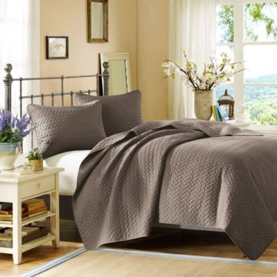 Hampton Hill Velvet Touch Taupe 3-Piece Queen Coverlet Set