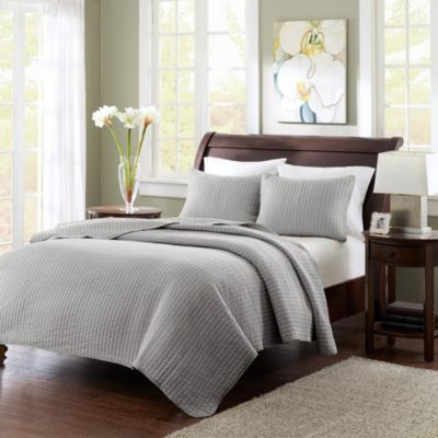 Hampton Hill Keaton Grey Two-Piece Twin Coverlet Set