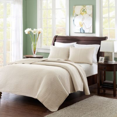 Hampton Hill Keaton Khaki 3-Piece Full/Queen Coverlet Set