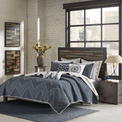 Hampton Hill Pomona Navy 3-Piece Queen Coverlet Set