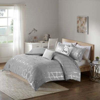 Hampton Hill Raina Gray 4-Piece Twin Comforter Set