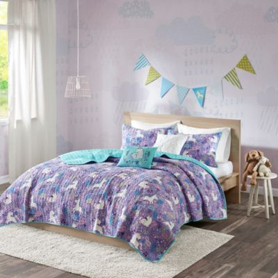 Hampton Hill Lola Purple 4-Piece Twin Coverlet Set