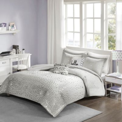 Hampton Hill Zoey Grey/Silver 4-Piece Twin Comforter Set