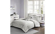 Hampton Hill Zoey Grey/Silver 5-Piece Full Comforter Set