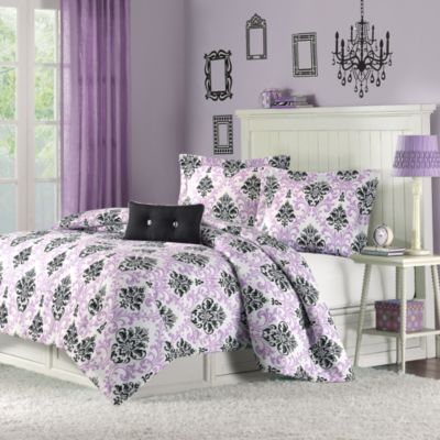 Hampton Hill Katelyn Purple 4-Piece Full/Queen Comforter Set