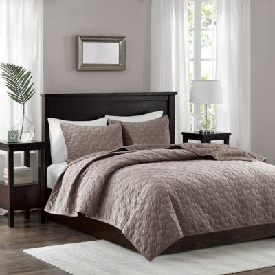 Hampton Hill Harper Taupe 3-Piece Queen Coverlet