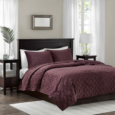 Hampton Hill Harper Purple 3-Piece Queen Coverlet