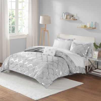 Hampton Hill Lorna Grey/Silver 8-Piece Full Comforter Set