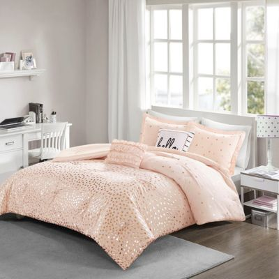 Hampton Hill Zoey Blush/Rose Gold 4-Piece Twin Comforter Set