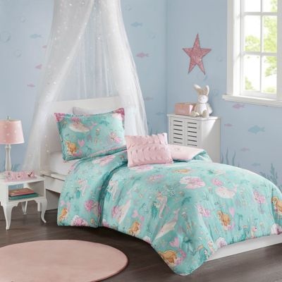 Hampton Hill Darya Aqua/Pink 3-Piece Twin Comforter Set