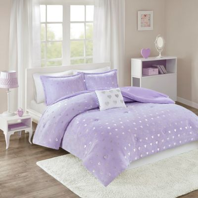 Hampton Hill Rosalie Purple 4-Piece Full Comforter Set