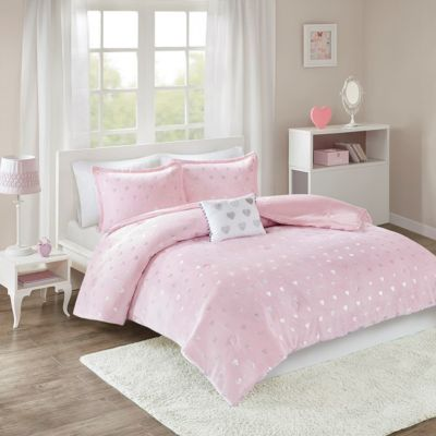 Hampton Hill Rosalie Pink 4-Piece Full Comforter Set
