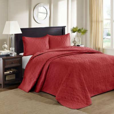 Hampton Hill Quebec Red 3-Piece King Coverlet Set