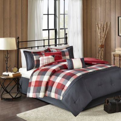 Hampton Hill Ridge Red 7-Piece Queen Comforter Set