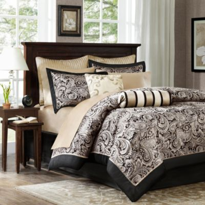 Hampton Hill Aubrey Black 12-Piece Queen Bedding Set