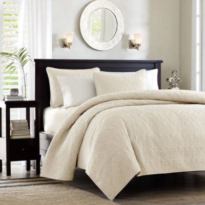Hampton Hill Quebec Ivory 3-Piece King Coverlet Set