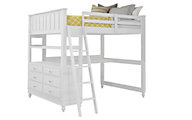 Hillsdale Furniture Lake House White Loft Bed with Desk & Chest
